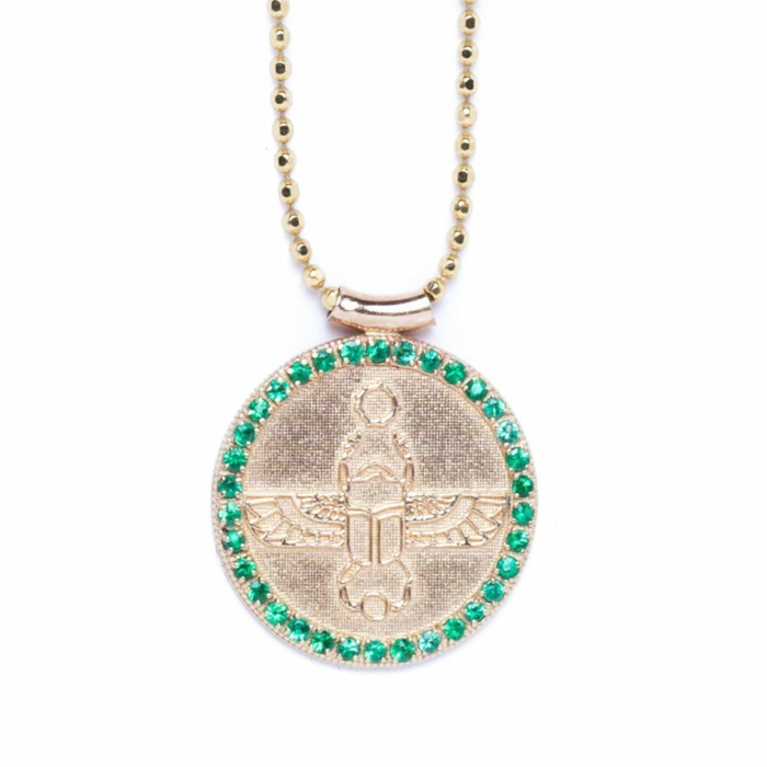 Scarab Choker With Emeralds