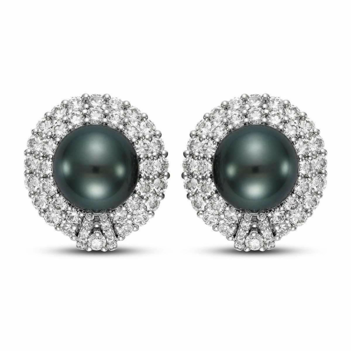 Black Tahitian Pearl And Diamond Earrings - 18mm