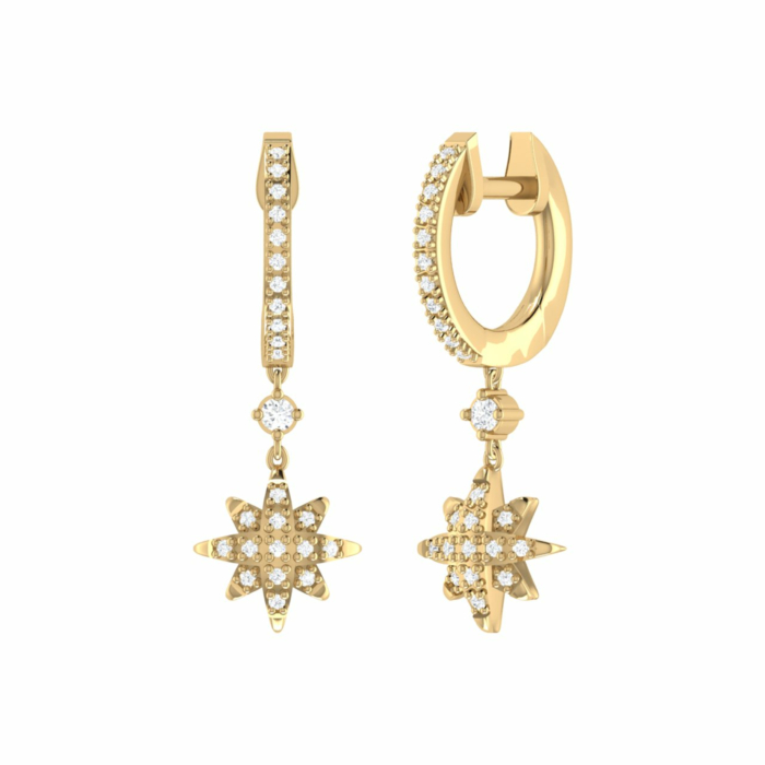 14kt Yellow Gold Plated North Star Hoop Earrings