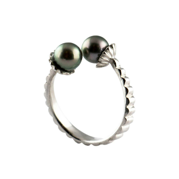 Sterling Silver & Pearl Electric Flowers Ring