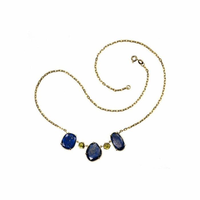 18kt Gold Lapis Necklace