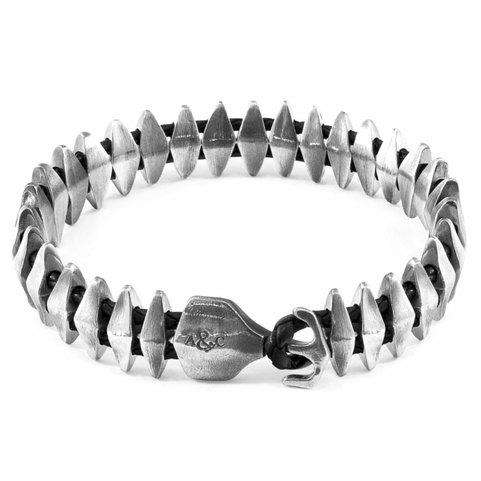 Coal Black Delta Anchor Maxi Silver and Braided Leather Bracelet