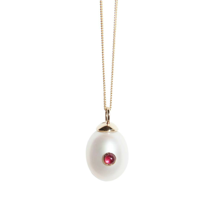 14kt Gold Pearl & Pink Tourmaline Necklace
