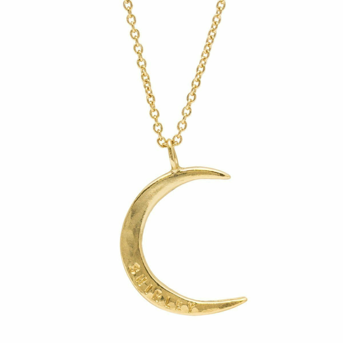 Personalised Moon Necklace Yellow Gold Plated