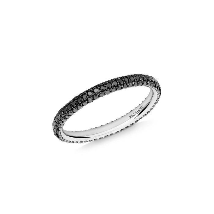 18kt White Gold Gemopoli 3 Row Black Diamond Ring
