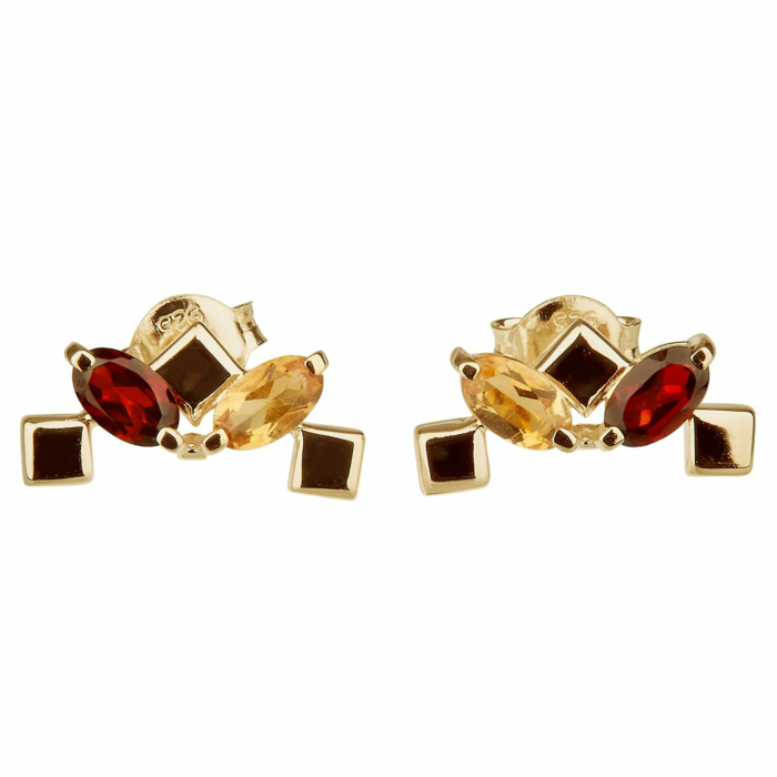 14kt Yellow Gold Plated Sterling Silver Citrine Daring Little Earrings