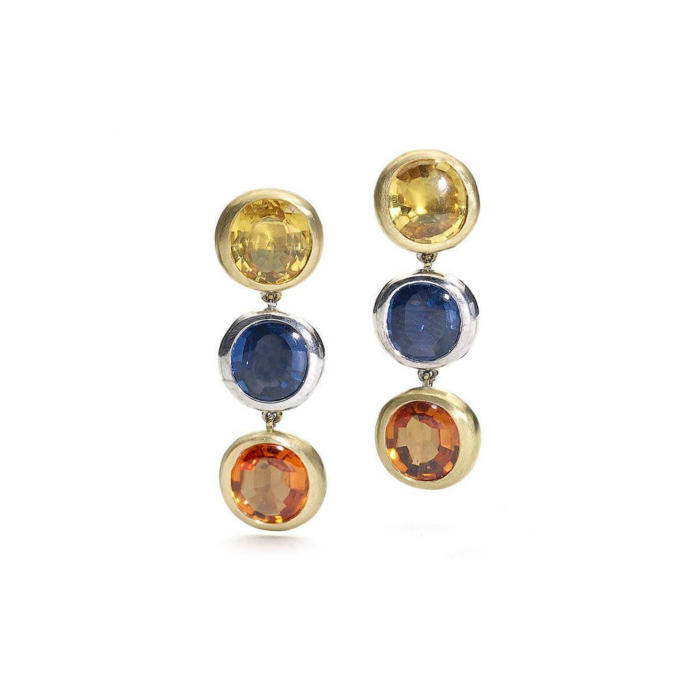 18kt Yellow And White Gold Tri-Colour Sapphire Drop Earrings