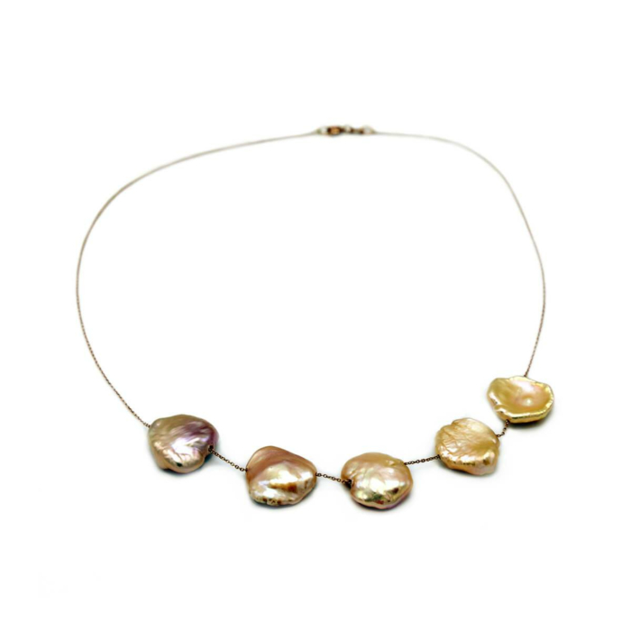 18kt Rose Gold Baroque Pearl Necklace