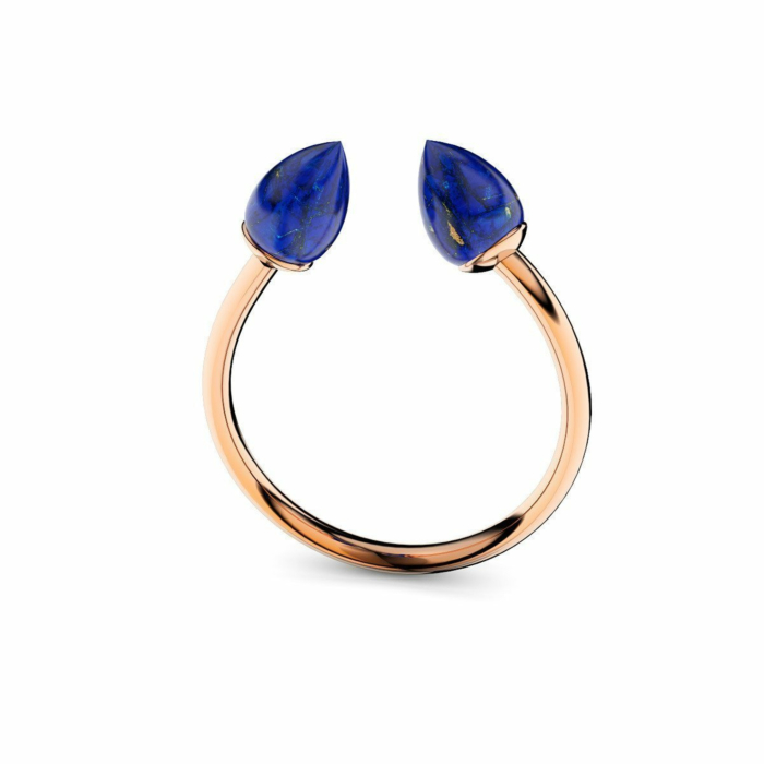 Rose Gold Plated Silver & Lapis Lazuli Ring