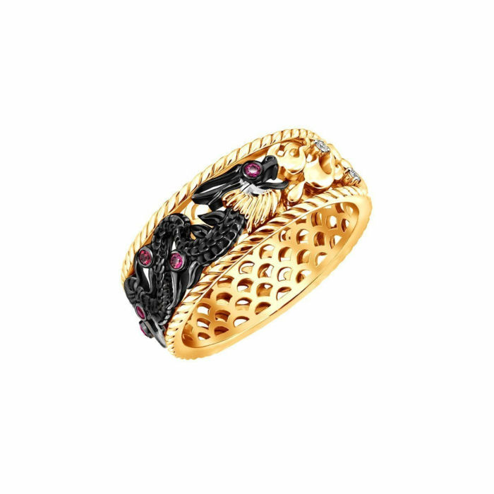 Gold & Ruby Fire Element Dragon Ring | Chekotin Jewellery