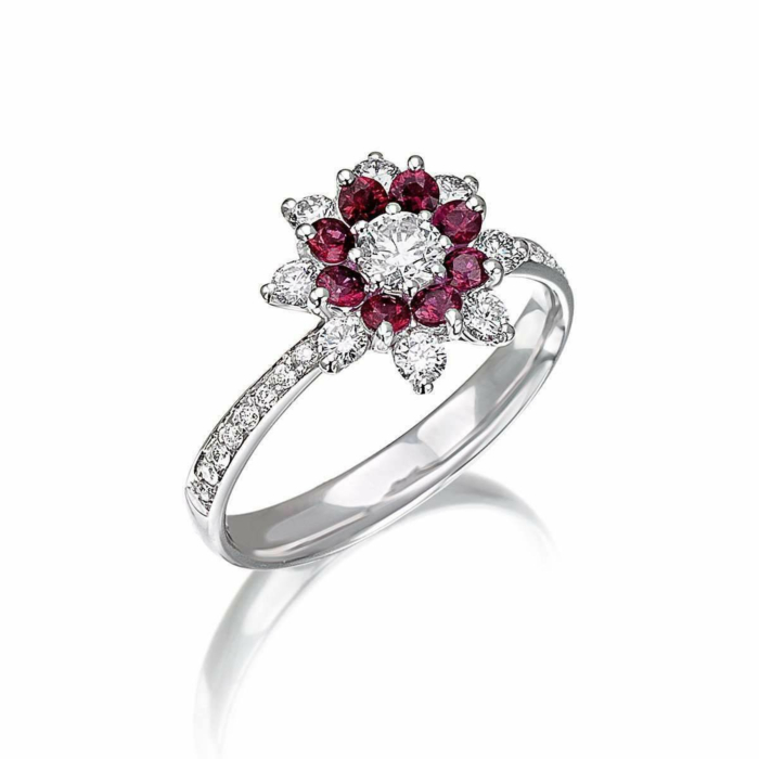 White Gold & Ruby Flowers Collection Ring | Pinomanna