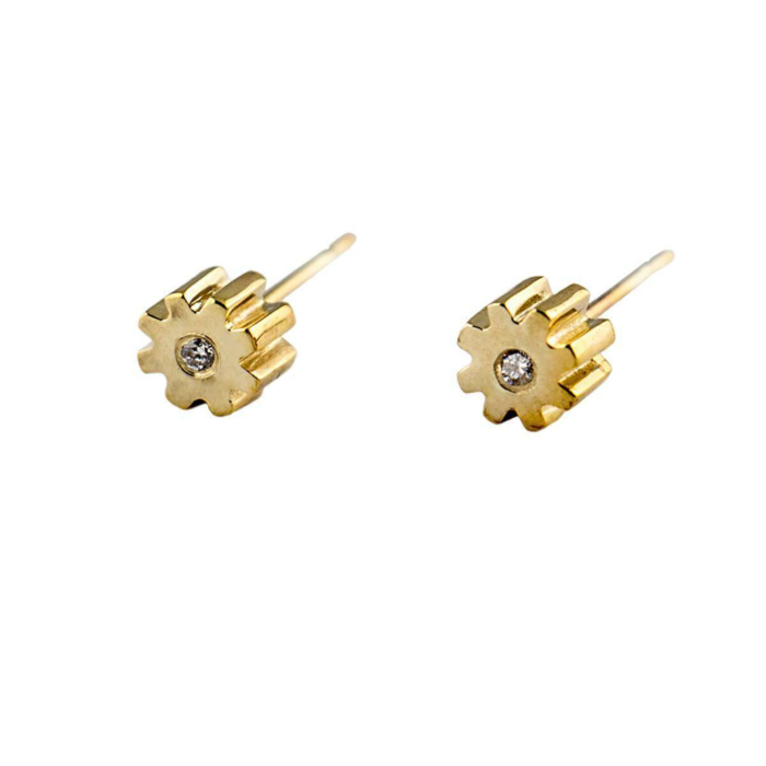 9kt Gold & White Diamond Little Cog Stud Earrings