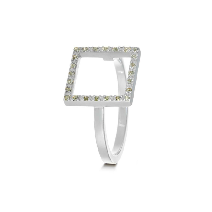 Sterling Silver & Sapphire Light Green Square Ring