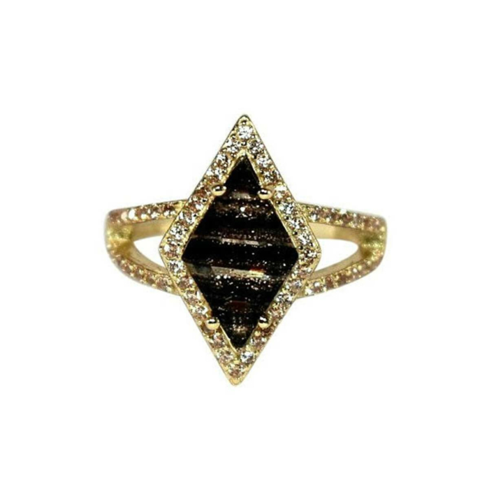 Yellow Gold Plated Kite Ring With Black Glass Stone