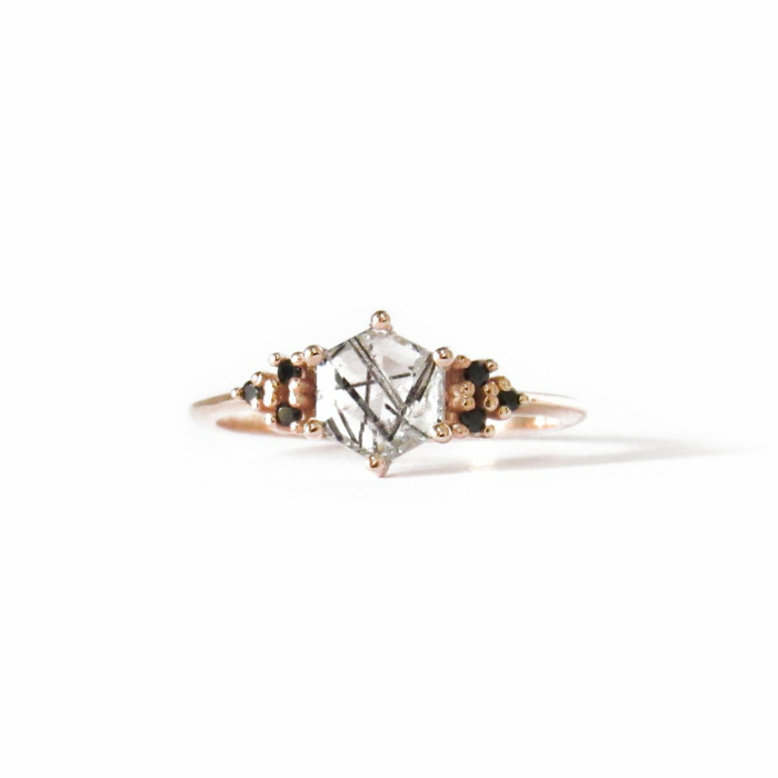 14kt Rose Gold Tourmalinated Quartz Imperfectly Perfect Ring