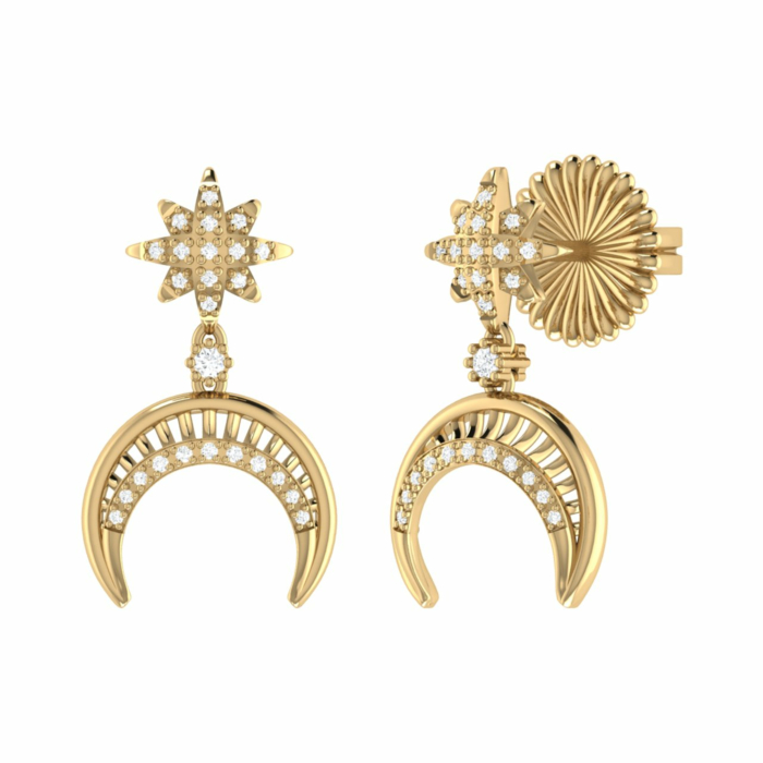 Yellow Gold Plated North Star Moon Crescent Earrings