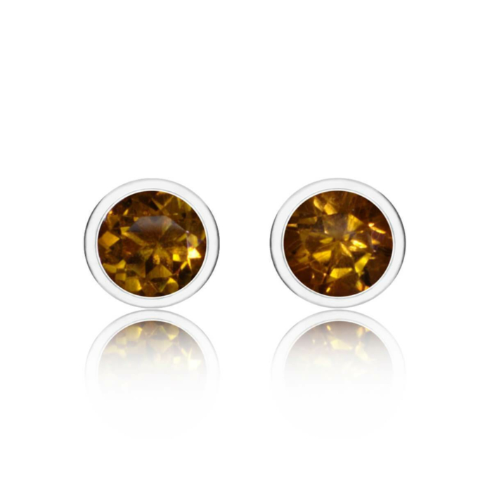 Sparkly Solo Studs With Citrine