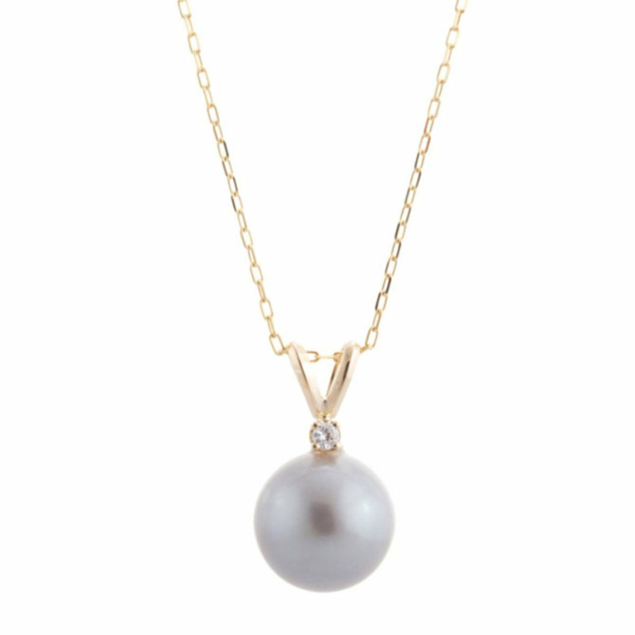 Grey Pearl With Diamond Necklace