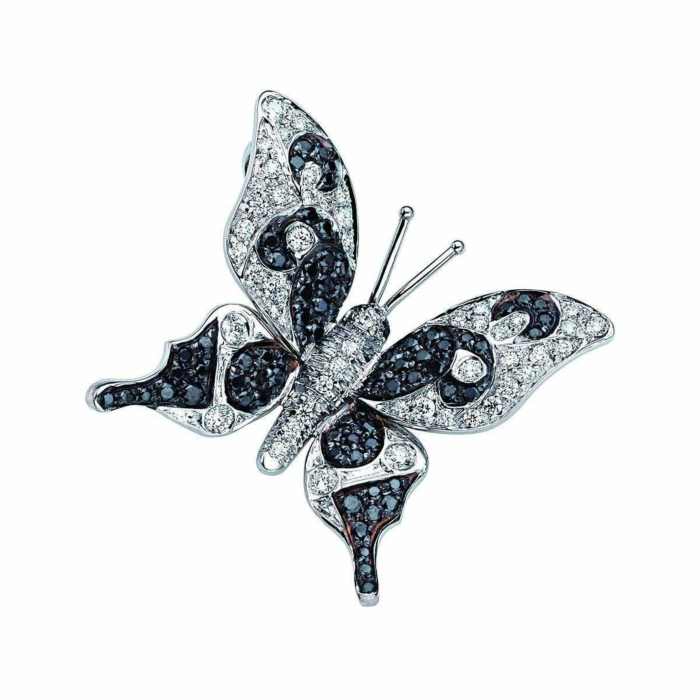 White Gold & Diamond Natural Chic Butterfly Necklace | Pinomanna