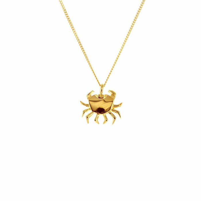 Sterling Silver & Gold Mini Crab Origami Necklace