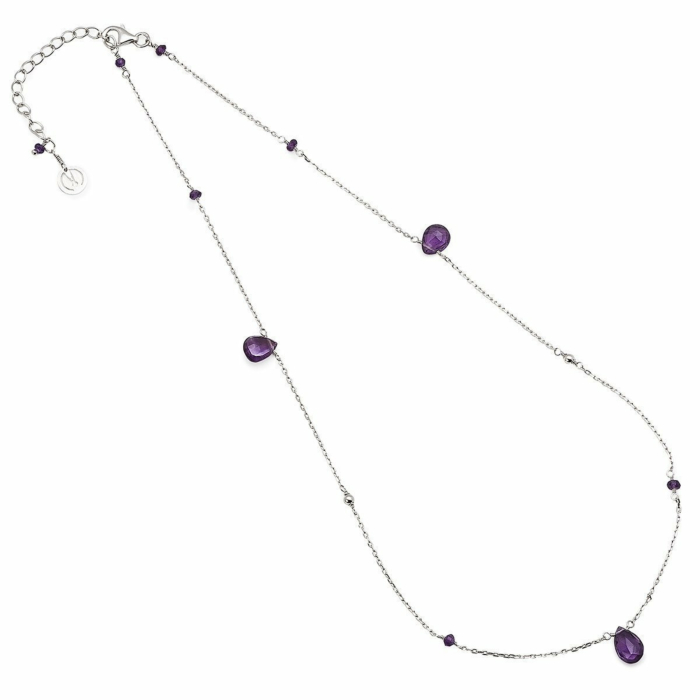 Sterling Silver & Amethyst Cari Necklace