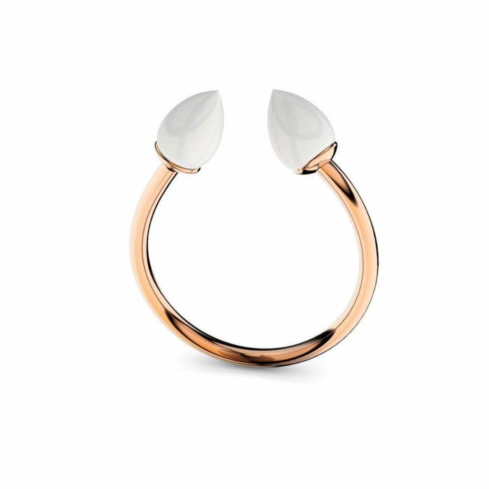 Rose Gold Plated Silver & White Opal Ring