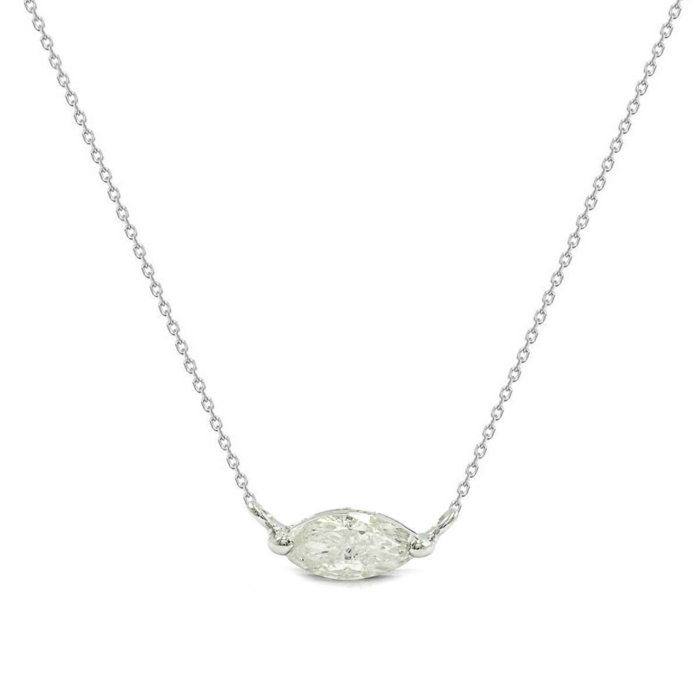 18kt White Gold & East West Marquise Diamond Solitaire Necklace