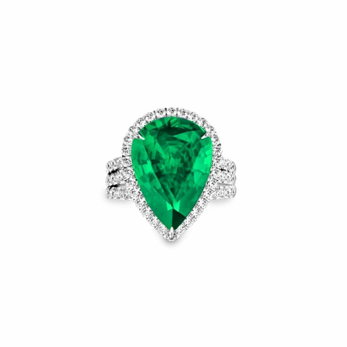 Emerald Diamond Ring - Pear