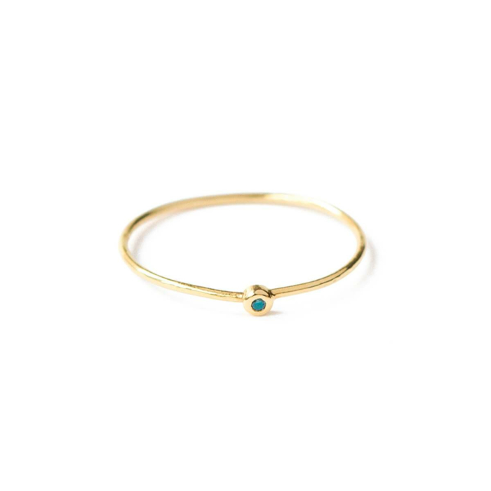 18kt Yellow Gold Stackable Ring With Blue-Green Diamond