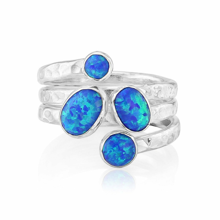 Sterling Silver Opal Hammered Ring With Dark Blue Opal