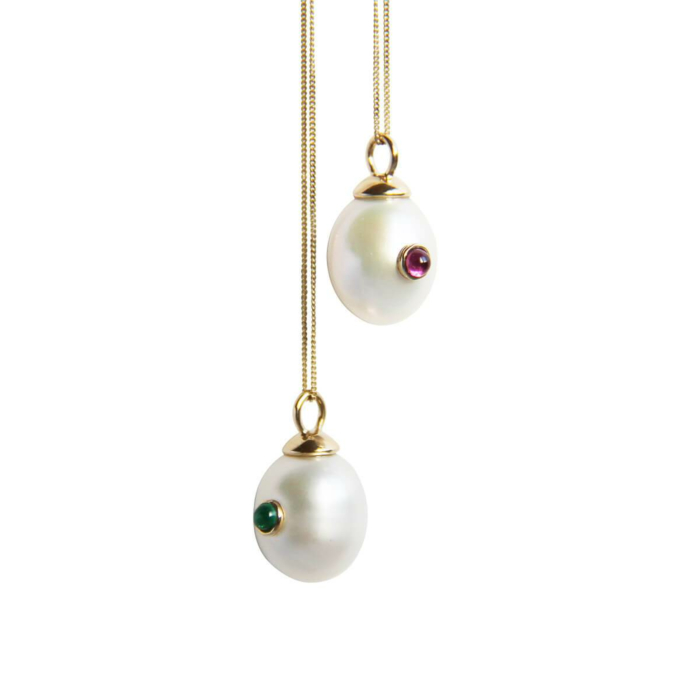 14kt Gold Pearl & Emerald Necklace
