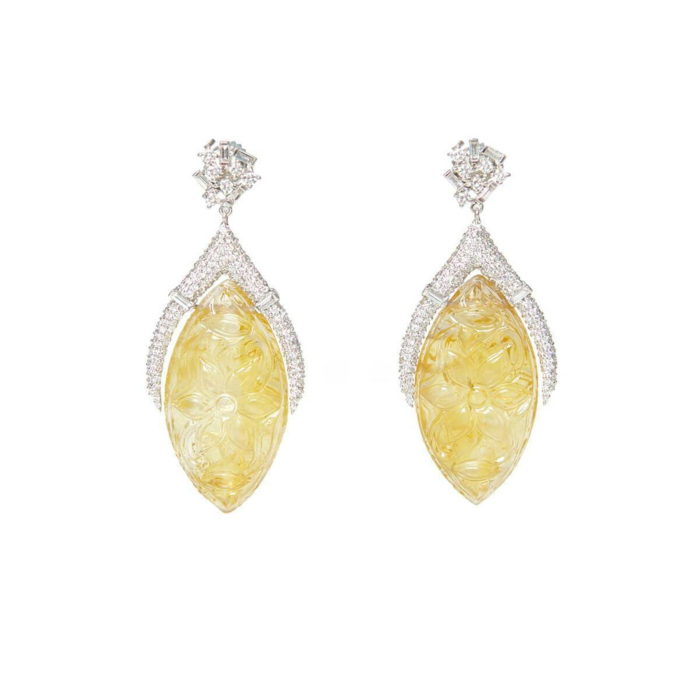 18kt White Gold Carved Citrine & Diamond Drop Earrings