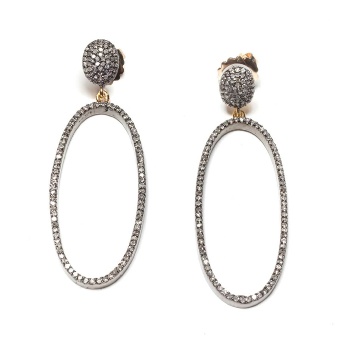 Rhodium Plated Pave Diamond Oval Drop Earrings