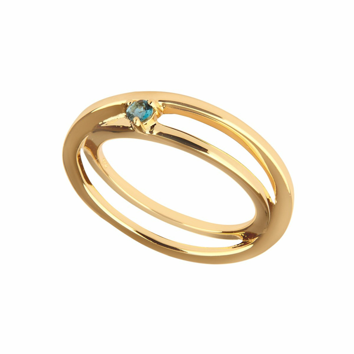 14kt Yellow Gold Plated Sterling Silver Blue Topaz Self-Love Ring