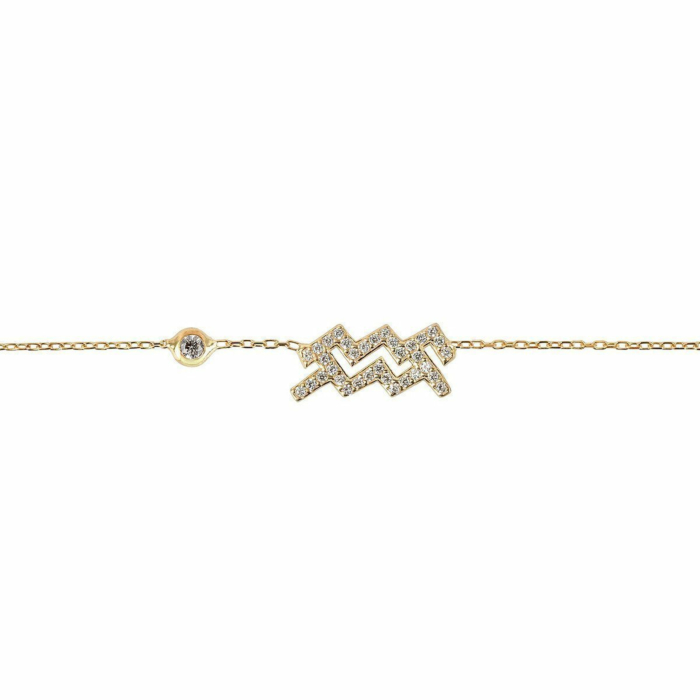 Aquarius Zodiac Bracelet Gold