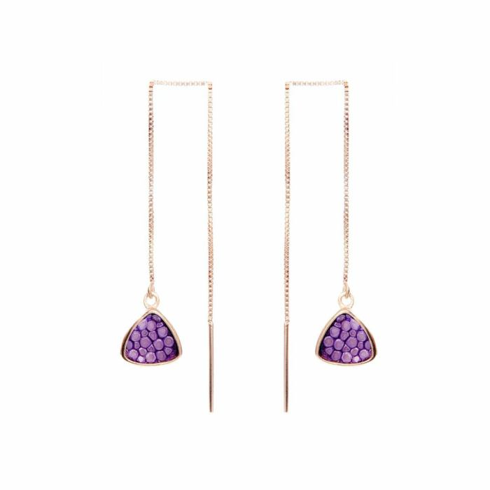Nana Rose Gold Plated Silver Earrings With Lavender Stingray Leather