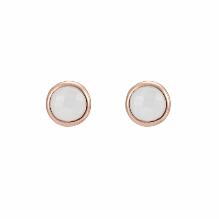 18kt Rose Gold Vermeil Sophina Round Gemstone Stud Earrings with Rainbow Moonstone