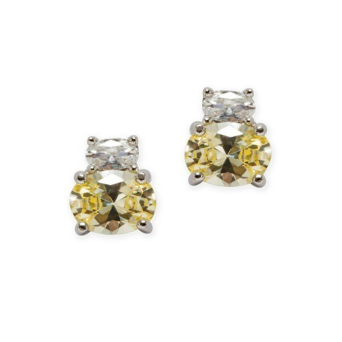 Sterling Silver Oval Double Studs