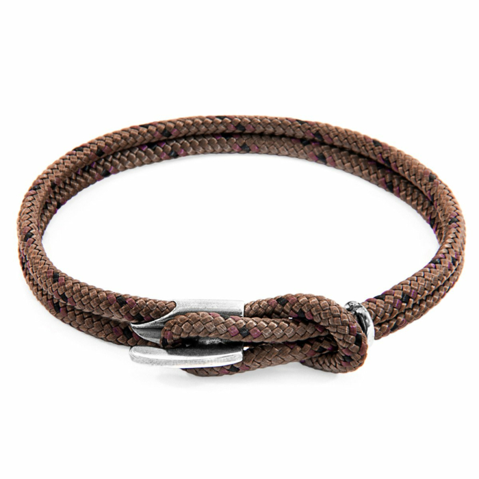 Brown Padstow Silver and Rope Bracelet