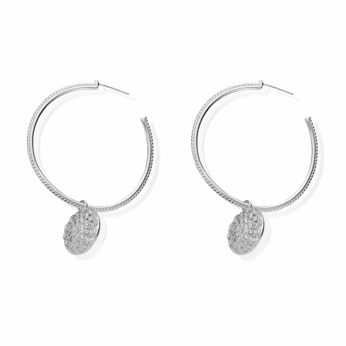 Moon Flower Hoop Earrings