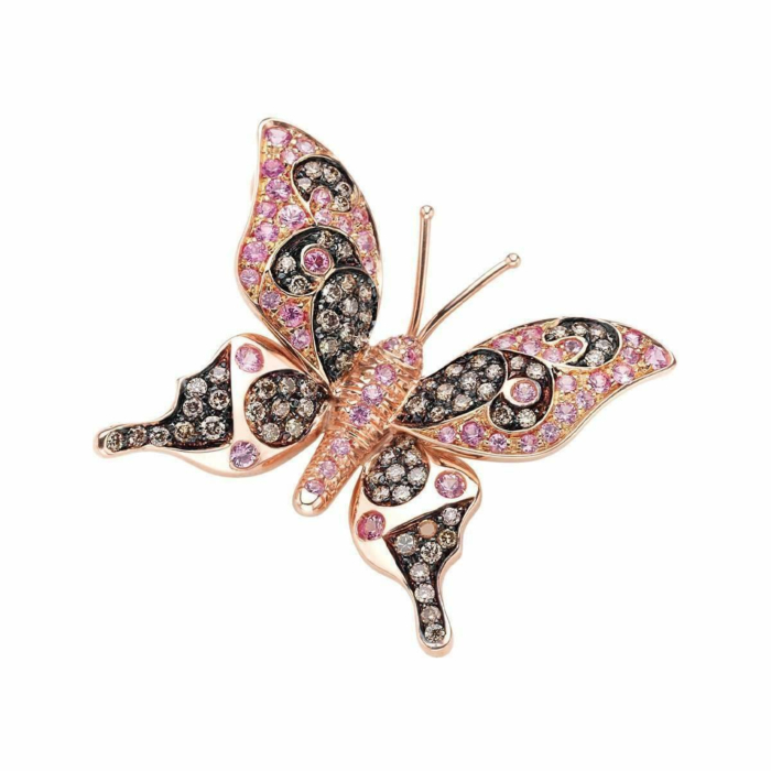 Rose Gold & Pink Sapphire Natural Chic Butterfly Necklace | Pinomanna