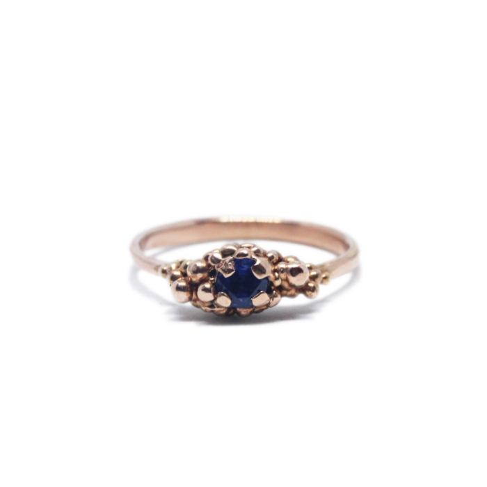 9kt Rose Gold Granulated Sapphire Solitaire Ring