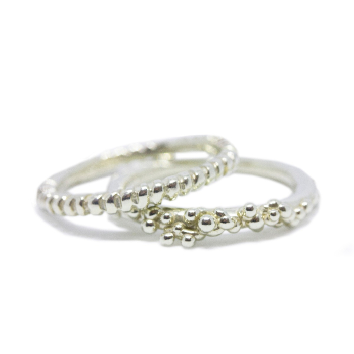 925 Sterling Silver Fossil and Granule Stackers