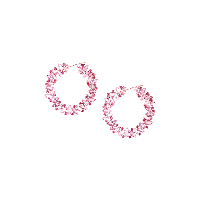 18kt Rose Gold Pink Sapphire And Ruby Hoop Earrings