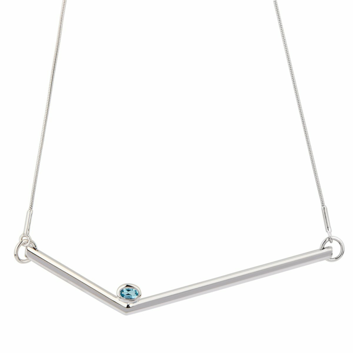 Sterling Silver Topaz Simple Transforming Necklace