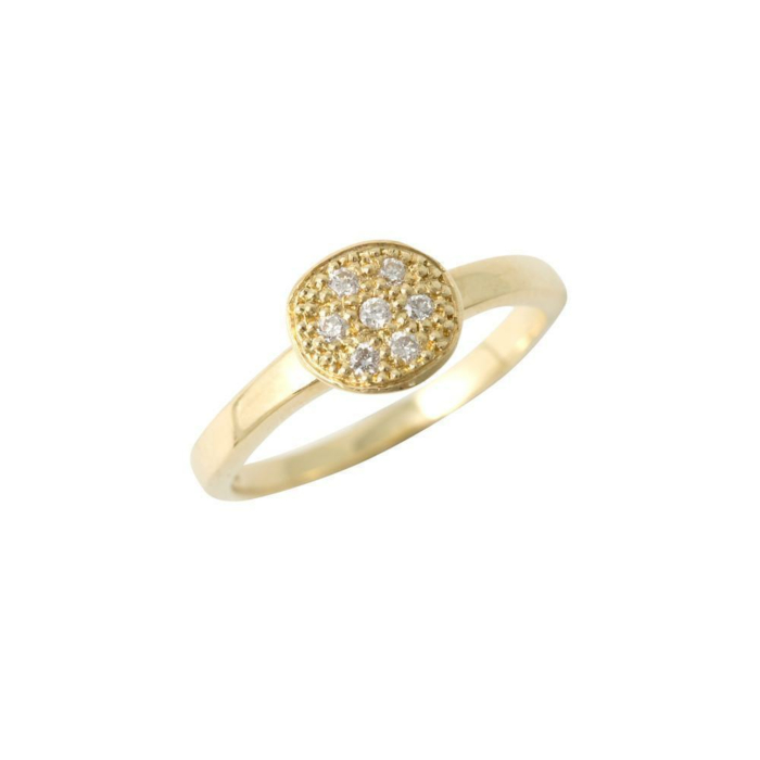 18kt Yellow Gold One Circle 7 Diamonds Ring