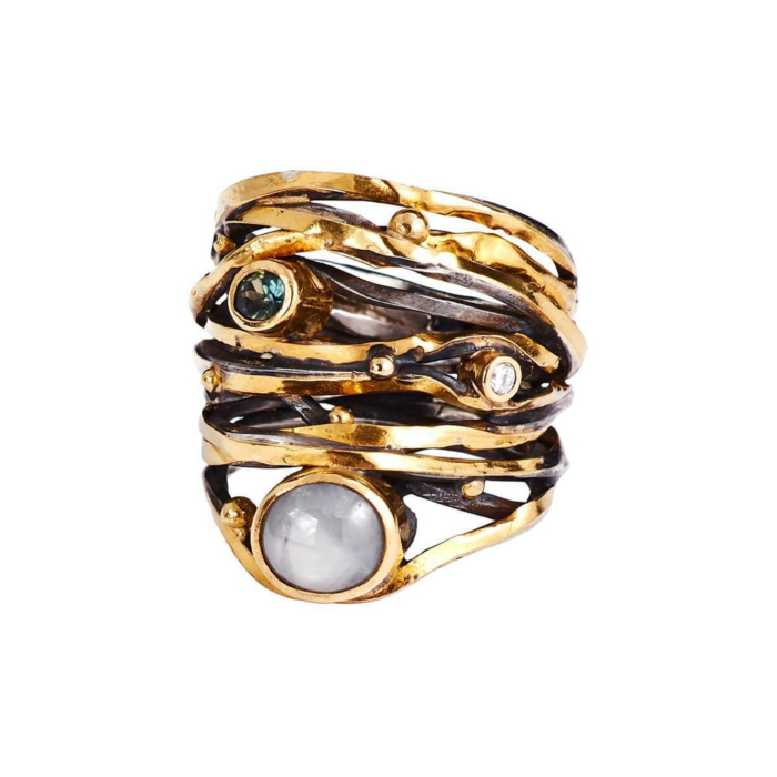 Yellow Gold Twisted Ring With South Sea Pearl, Diamond, & Sapphire | Bergsoe
