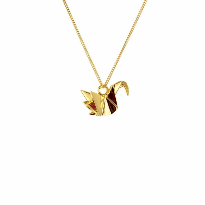 Sterling Silver & Gold Mini Swan Origami Necklace