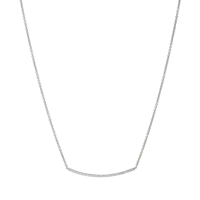 18kt White Gold & Diamond Bar Necklace