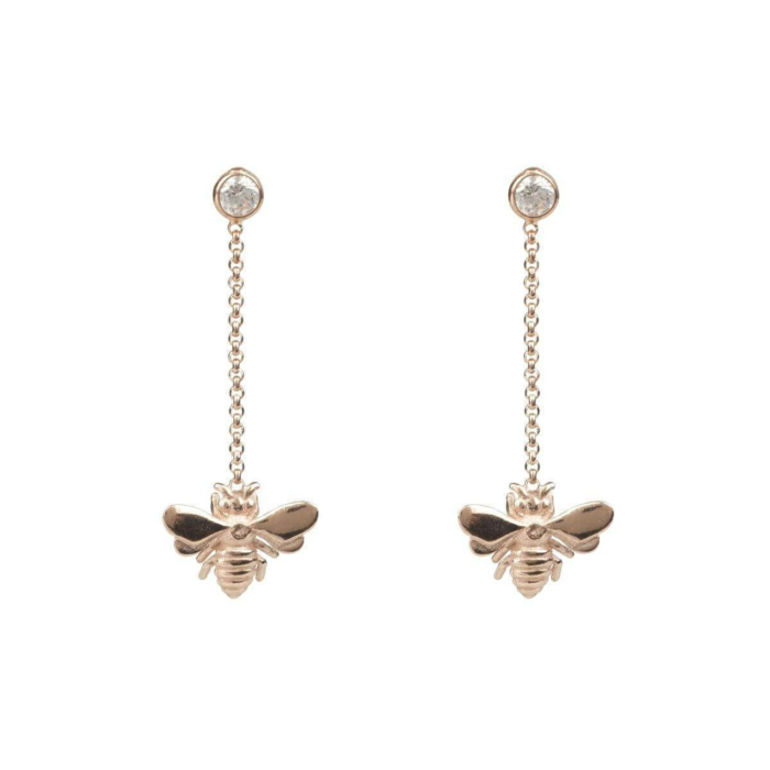 Rose Gold Plated Silver Queen Bee Drop Earrings
